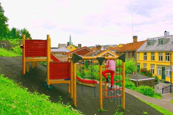 Beautiful playgrounds on the guided tour for kids and children